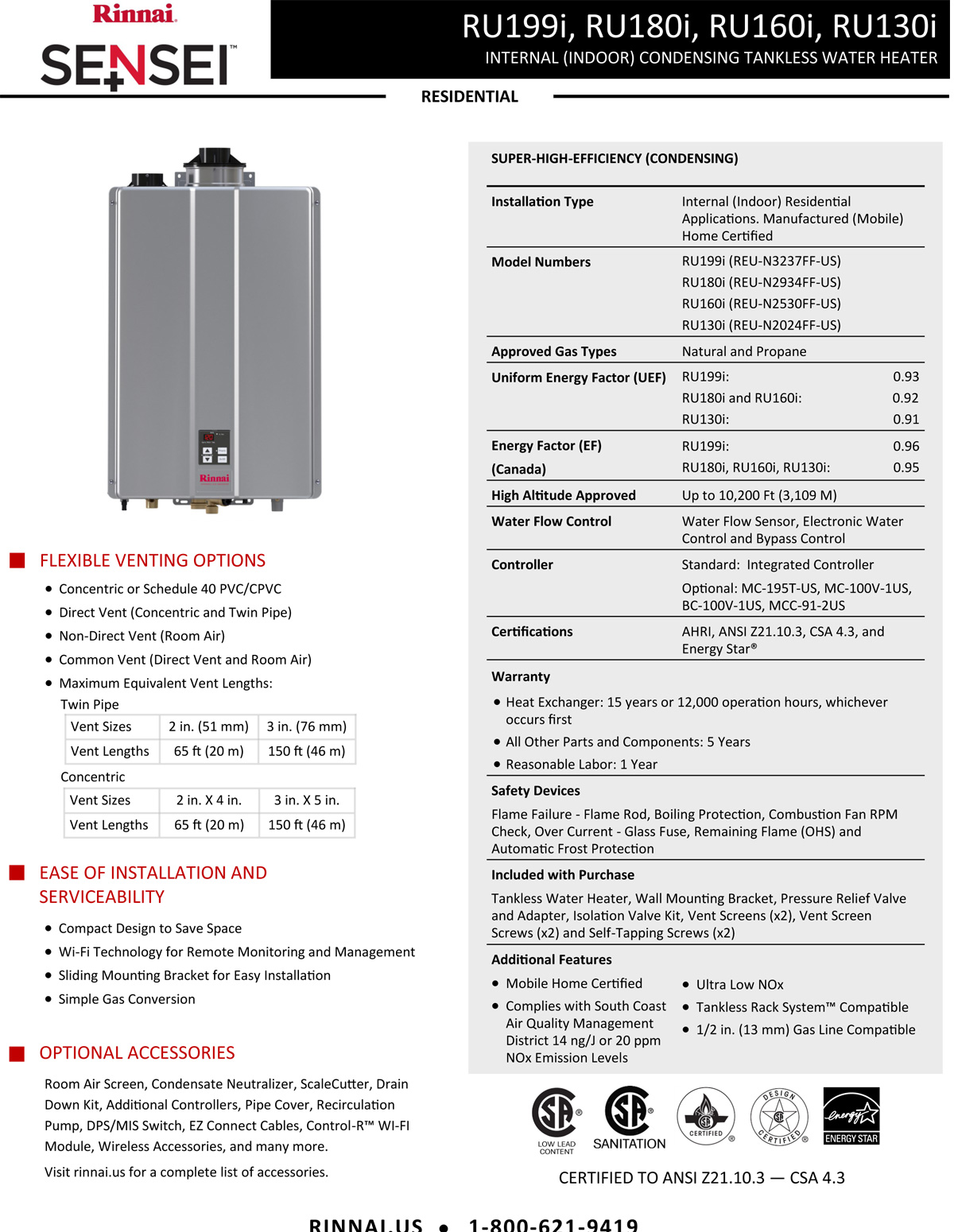 Rinnai Water Heater - Cedar Valley Row Homes