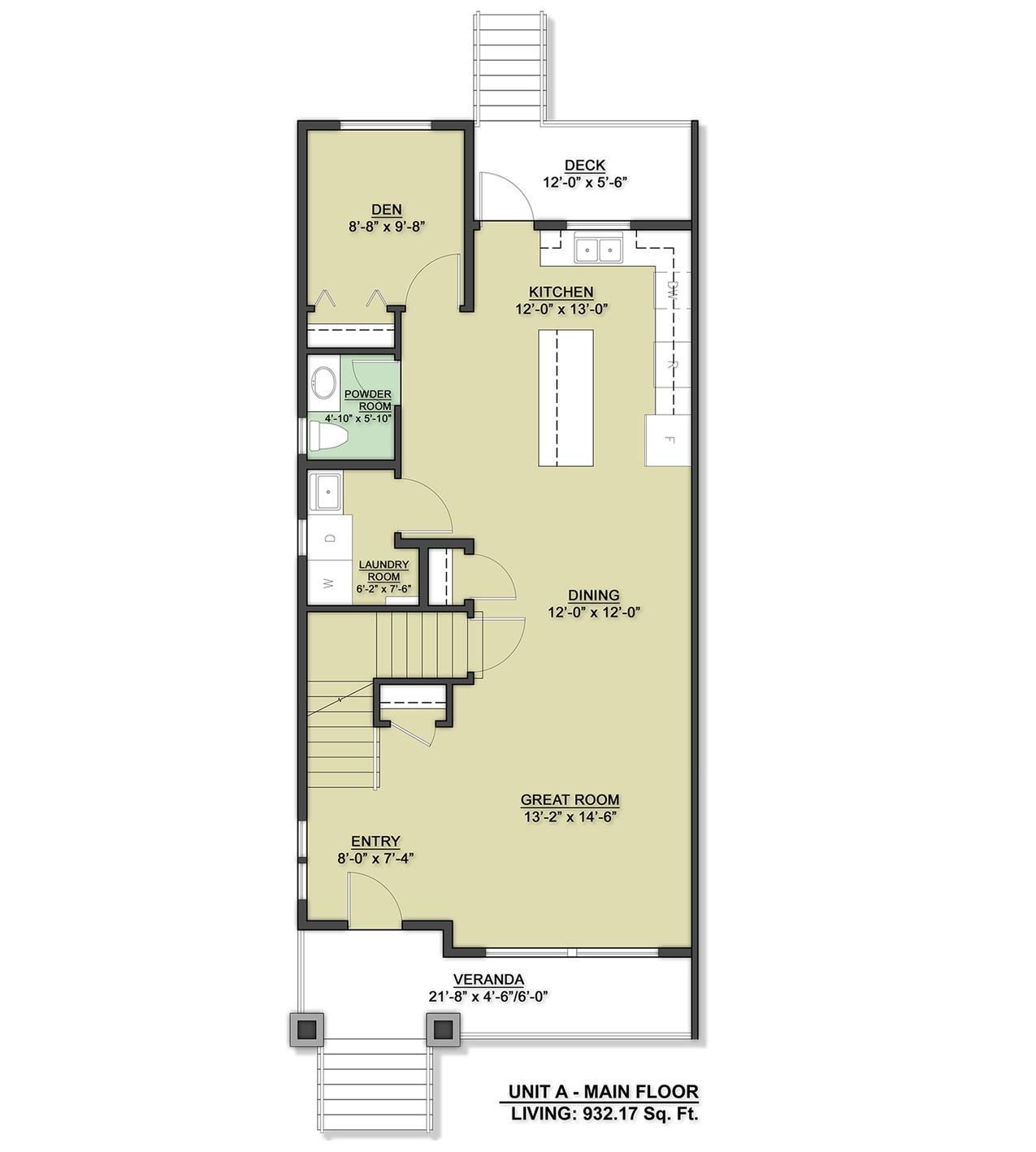 Row Home Main Floor Design Unit A