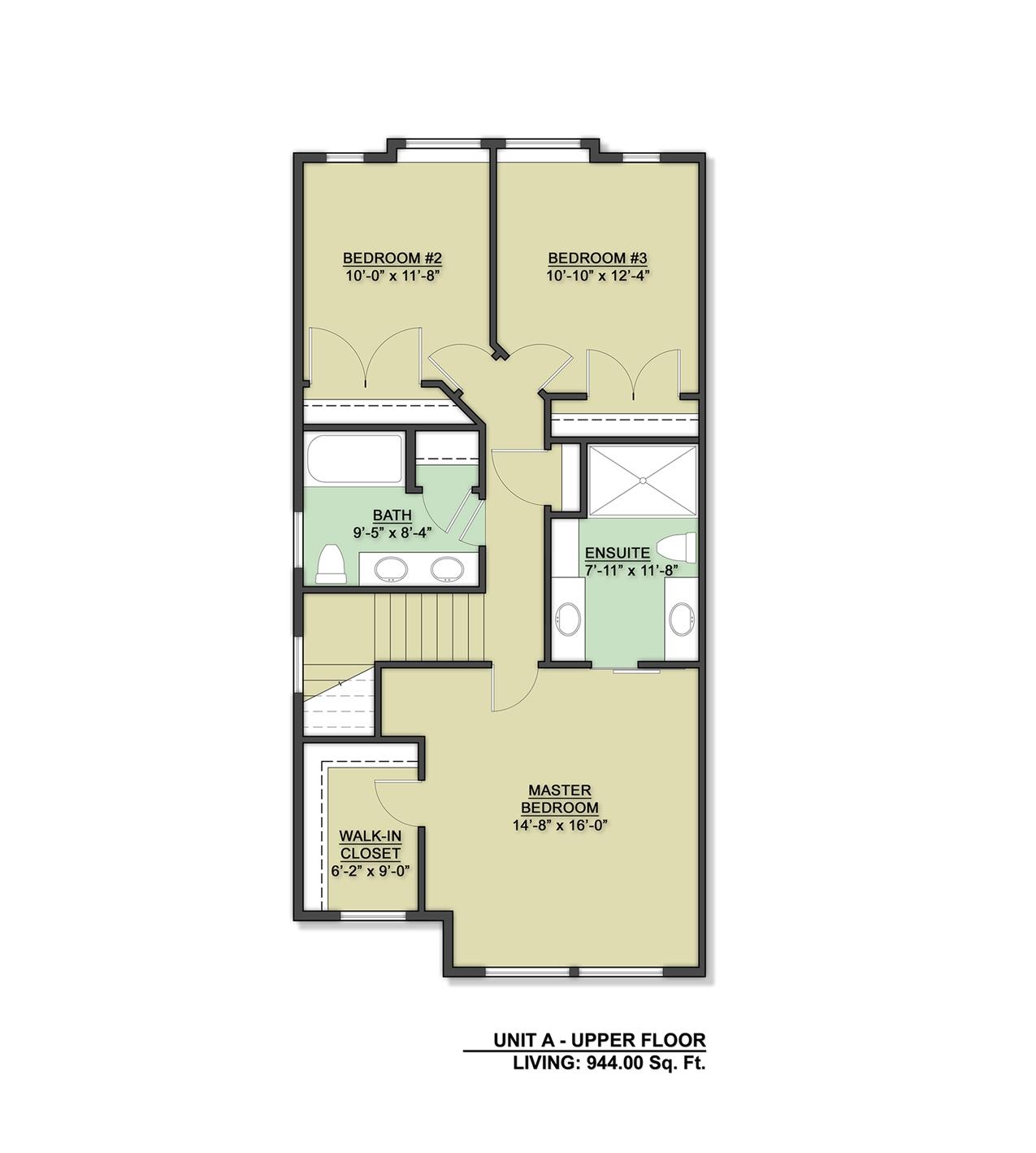 Row Home Upper Floor Design Unit A