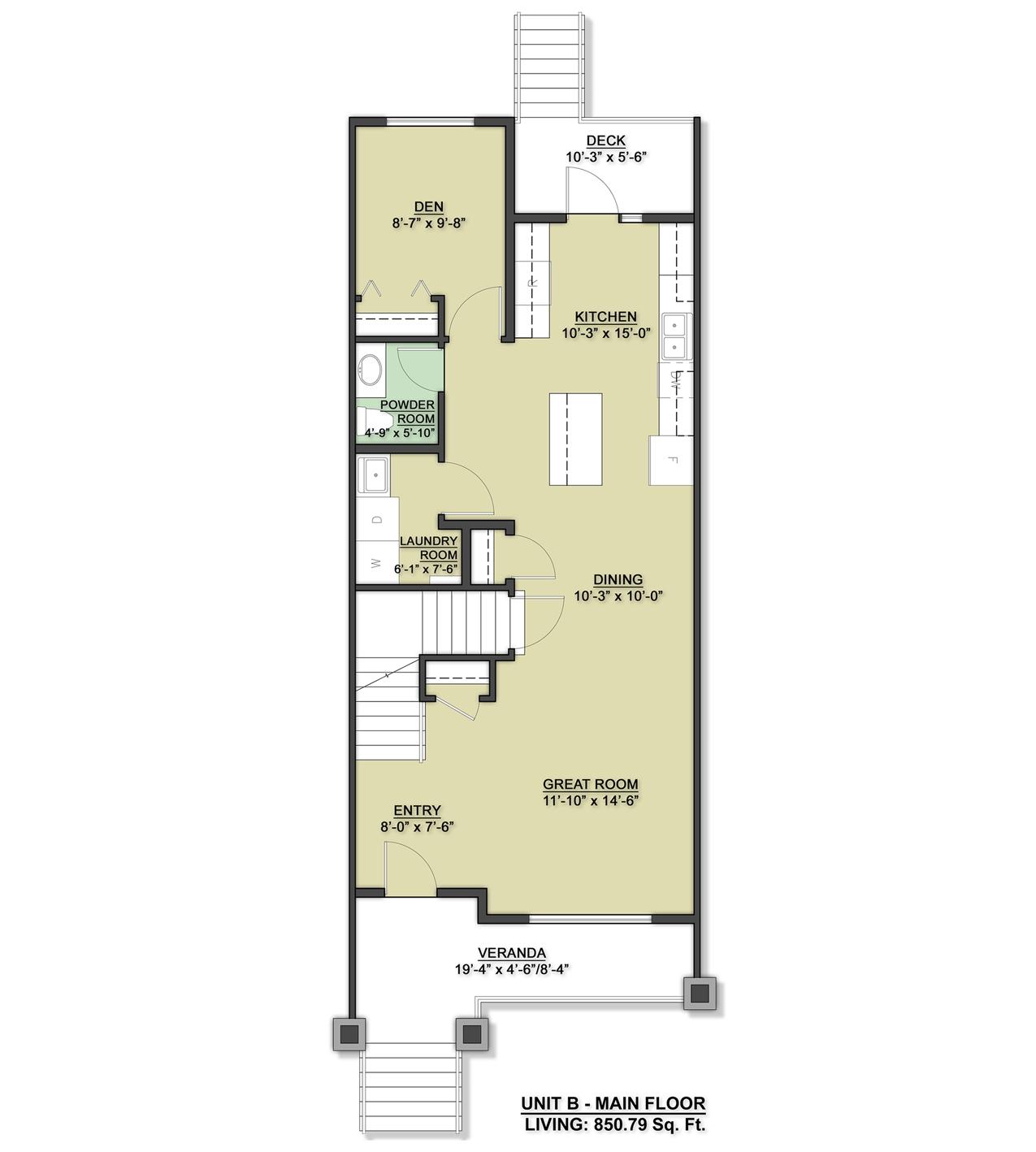 Row Home Main Floor Design Unit B